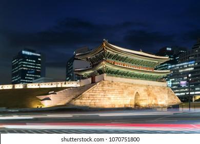 Seoul Namdaemun gate at night in Seoul ,South Korea.