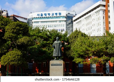 Seoul National University Hospital, Jongno-gu, Seoul, South Korea - February 29, 2020: Statue of Dr. Seok-Young Ji, the first doctor in the late Joseon Dynasty to introduce the vaccination