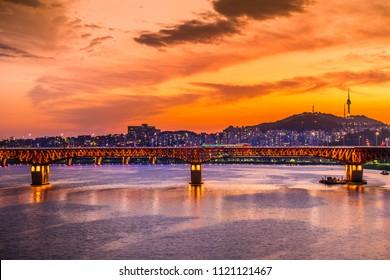 Seoul at night,Seongsu bridge of Hangang river in seoul,south korea.