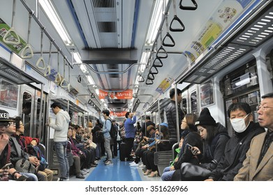 SEOUL - NOVEMBER 10 : Inside view of Metropolitan Subway Seoul, one of the most heavily used underground system in the world, service 8 million passengers daily November 10, 2015, Seoul, South Korea.