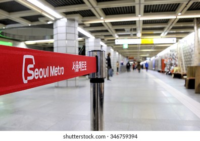 SEOUL - NOVEMBER 11 : Sign in the Metropolitan Subway of Seoul, one of the most heavily used subway systems in the world. Selective focus at the words Seoul Metro.November 11, 2015, Seoul, South Korea