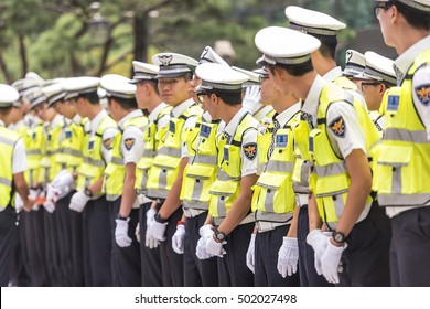SEOUL - OCT 01: Policeman dressed in a form in Seoul on October 01. 2016 in South Korea