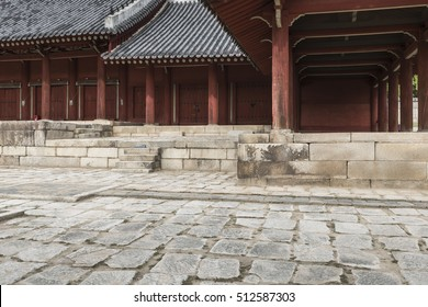 SEOUL - OCTOBER 21, 2016: Jeongjeon - the main hall of the Jongmyo Shrine in Seoul, South Korea. It is the oldest royal Confucian shrine preserved and UNESCO World Heritage Site.
