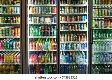 SEOUL - October 23 : Many beverage in convenience store (7-11) on October 23, 2017 at Daehangno, Seoul, South Korea.