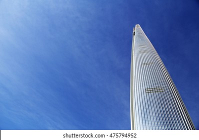 SEOUL, REPUBLIC OF KOREA - AUG 30, 2016: Lotte World Tower & Mall against Blue sky background in Songpa-gu.