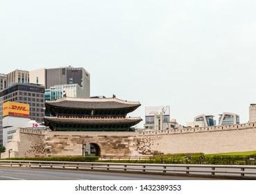 Seoul, Republic of Korea - June 20, 2019 - Sungnyemun Gate, also known as Namdaemun, one of the eight gates that surround the old city of Seoul, South Korea.