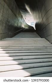 Seoul, Republic of Korea, MAY 24 2017 : Stairs in Dongdaemun Design Plaza(DDP), taken with film camera