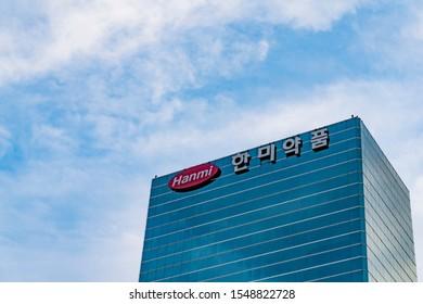 Seoul, Republic of Korea - November 3, 2019: Hanmi Pharm company. This company provides new drug development worldwide.