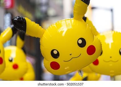 SEOUL - SEPT 24: A big balloon - Pikachu figure from Pokemon anime in Seoul on September 24. 2016 in South Korea