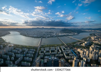 Seoul sky view point over han river beautiful aerial view sun set