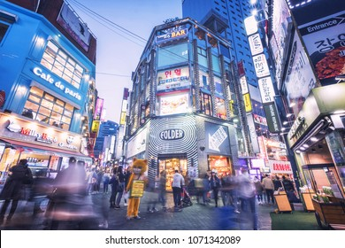 SEOUL, SOTH KOREA, 29 MARCH 2018 : Korean people and tourist walking around Myeong-dong  at night for shopping and eating. Myeong-dong is one of the busiest places in Seoul, South Korea,