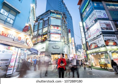 SEOUL, SOTH KOREA, 29 MARCH 2018 : Korean people and tourist walking around Myeong-dong  at night for shopping and eating. Myeong-dong is famous shopping destinations in Seoul, South Korea,