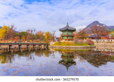 SEOUL, SOUTH KORAE- January 05, 2016 : Gyeonghoeru Pavilion is a building in Gyeongbokgung Palace. Gyeonghoeru is a hall used to hold important and special state banquets during the Joseon Dynasty