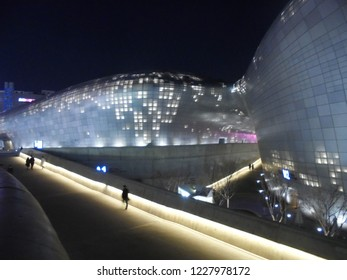 Seoul / South Korea - 03 03 2018: night lights at Dongdaemun Design Plaza (DDP), big shopping complex and venue for various conferences, exhibitions, fashion shows and other international events