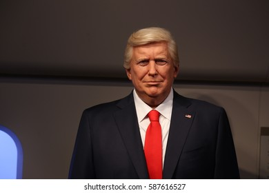 SEOUL, SOUTH KOREA - 07 FEB  2017 : The Art Wax Of Donald John Trump at Grevin Seoul. The Grevin Seoul is a waxwork museum in South Korea