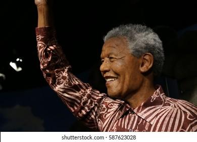 SEOUL, SOUTH KOREA - 07 FEB  2017 : The Art Wax Of Nelson Mandela at Grevin Seoul.Nelson Mandela is President of South Africa and The Grevin Seoul is a waxwork museum in Seoul, South Korea