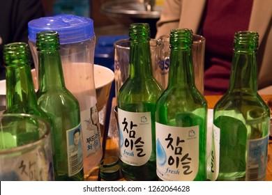 Seoul, South Korea - 1 December 2018: soju bottles at the party in korea