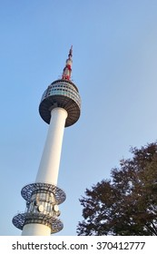 SEOUL, SOUTH KOREA - 12 OCTOBER 2015 : N Seoul Tower is located on Namsan Mountain in central Seoul. It marks the highest point in Seoul.