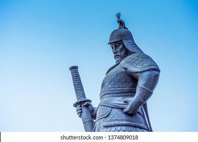 Seoul, South Korea - 12th April 2019: Statue of Admiral Yi Sun Shin