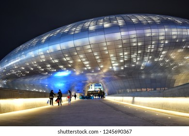 Seoul, SOUTH KOREA - 14 April 2018 : Entrance view of Dongdaemun Design Plaza (DDP), The most iconic landmark of the Korean design industry with modern interior curve shape architectural.