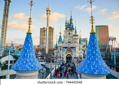SEOUL, SOUTH KOREA - 16 APRIL 2017. Lotte World Amusement Park