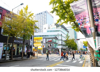 Seoul, South Korea - 20 October 2018:Hongdae shopping street, Korean people tourists walking shopping the neighbourhood. It is fashionable to be the most popular. neighbourhood is must when traveling
