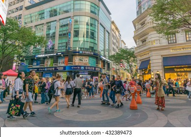 SEOUL, SOUTH KOREA - 21 May 2016 : The view at Myeong-Dong shoping street in Seoul.