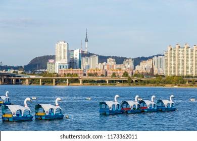 Seoul, South Korea, 21 October 2013:- Hangang river and seoul tower