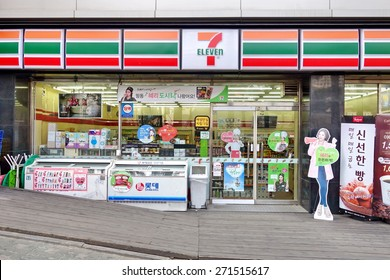 Seoul, South Korea - 22 MARCH  2015: 7-Eleven convenience store on March 22 in city of Seoul. 7-Eleven is world's largest operator, franchisor of convenience stores, with more than 46,000 shops.