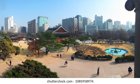 SEOUL, SOUTH KOREA - 23 March 2018: Panoramic view of the Changgyeonggung Palace built in the mid-15th century, with modern buildings in the background in Seoul, South Korea.