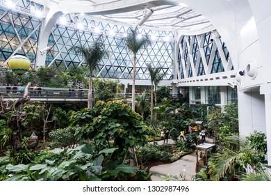 Seoul, South Korea - 4 february 2019: inside view of Greenhouse of Seoul botanic park, seoul, south korea