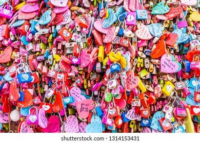 Seoul, South Korea 6 December 2018 : Love key on namsan mountain with Seoul tower is the one of landmark in Korea