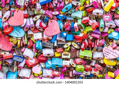 Seoul, South Korea 6 December 2018 : Love key on namsan mountain with Seoul tower is the one of landmark in Korea