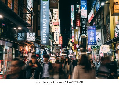 SEOUL ,SOUTH KOREA APR 12 2018 : Myeongdong street market at night in Seoul, South Korea. Myeong Dong district is the most popular shopping market at Seoul city.