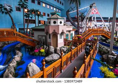 SEOUL, SOUTH KOREA - APR 24, 2019:  The Indoor Adventure world of Lotte World (Lotte Land) theme park. Lotte World is a major recreation complex in Seoul, South Korea.