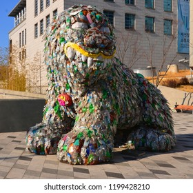 SEOUL, SOUTH KOREA - APRIL 04 2013: Korean mythical creature  or 'unicorn-lion' Symbol of Seoul but it was believed to protect the city in the Joseon period. it is made from recycled plastic bottles.