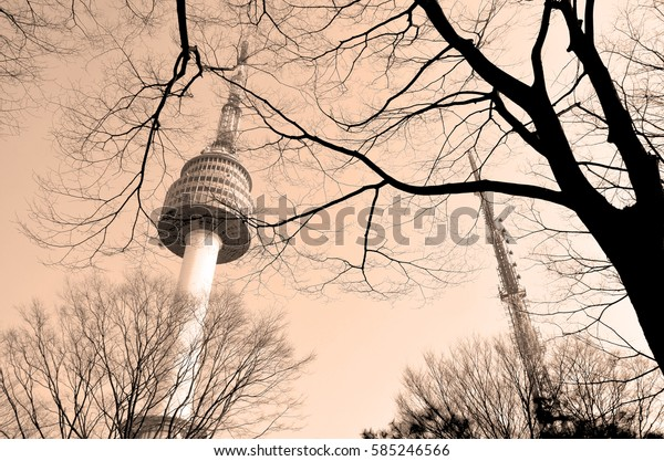 SEOUL, SOUTH KOREA - APRIL 04 2013: N Seoul Tower. Located on Namsan Mountain in central Seoul. It marks the highest point in Seoul.