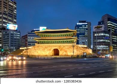 Seoul, South Korea - April 1, 2016 : Namdaemun Gate Sungnyemun at night with city traffic, Seoul, South Korea