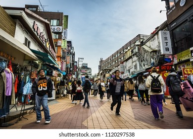 Seoul, South Korea - April 10, 2018: Hongdae is a neighborhood known for its youthful and romantic ambience, underground culture, and freedom of self-expression.