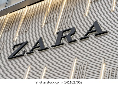 Seoul, South Korea - April 10, 2019: Zara sign on the wall  in Seoul, South Korea. Zara is a Galician fast fashion (clothing and accessories) retailer based in Galicia (Spain).