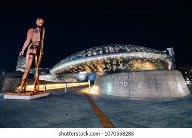 SEOUL, SOUTH KOREA - APRIL 11, 2018 : Modern architecture of the Dongdaemun Design Plaza (DDP) at night in Seoul city,South Korea.