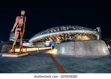 SEOUL, SOUTH KOREA - APRIL 11, 2018 : Modern architecture of the Dongdaemun Design Plaza (DDP) at night in Seoul city,South Korea.