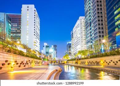 Seoul, South Korea - April 12, 2017: Cheonggyecheon, Modern public recreation space in downtown Seoul, South Korea