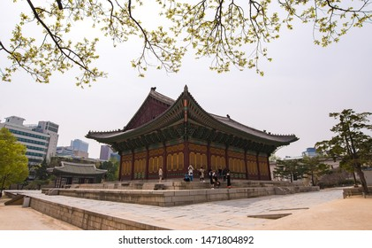 Seoul, South Korea - April 12, 2016 : Tourists at the Deoksugung Palace at Seoul city, South Korea.