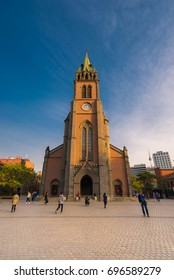 SEOUL, SOUTH KOREA - April 12 Myeong dong Catholic Cathedral on April 12, 2016 in Seoul, South Korea. Myeong dong Catholic Cathedral which is older than 110 years for center of Catholic in South Korea