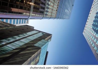 SEOUL, SOUTH KOREA - APRIL 15, 2019 : Low angle shot of high skycrapers in gangnam district.
