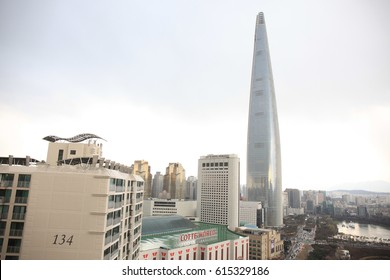 Seoul, South Korea - April 2, 2017: View of Lotte World Tower in Songpa-ga, Songpa-gu, afternoon light.
