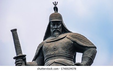 Seoul, South Korea - April 20 2020: Closeup, front facing portrait of the statue of Korean admiral and general Yi Sun Shin located at Gwanghwamun Square in Seoul.