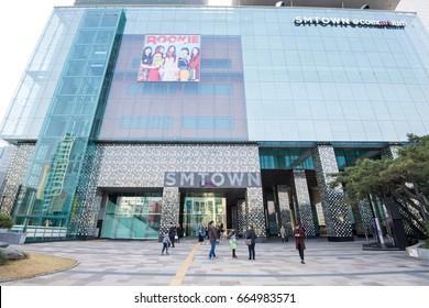 Seoul, South Korea - April 2017: SM TOWN Coex Artium, SM Town is the umbrella name for the recording artists under South Korean entertainment company S.M. Entertainment.
