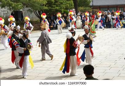 Seoul, South Korea - April 2018: Ancient Korean dances in traditional costumes.